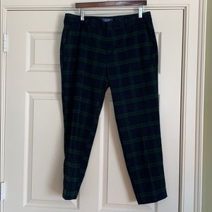 Blue and green plaid flannel pants